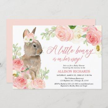 Blush Pink Greenery Easter Bunny Girl Baby Shower
