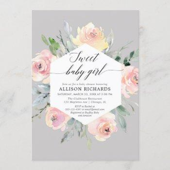 Blush Pink Grey Floral Watercolor Girl Baby Shower