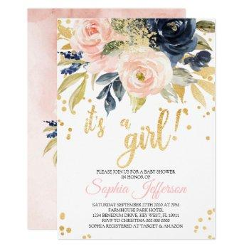Blush Pink, Navy & Gold Baby Shower Invitation
