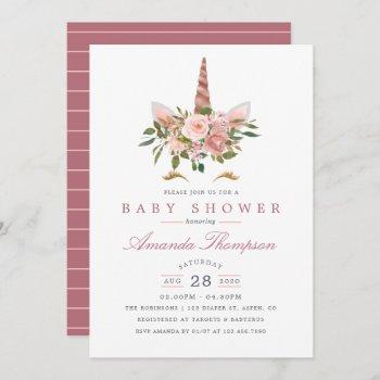 Blush Pink & Rose Gold Floral Unicorn Baby Shower