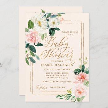 Blush Pink Watercolor Floral Greenery Baby Shower