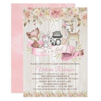 Blush Rose Girl Forest Woodland Animal Baby Shower Invitation
