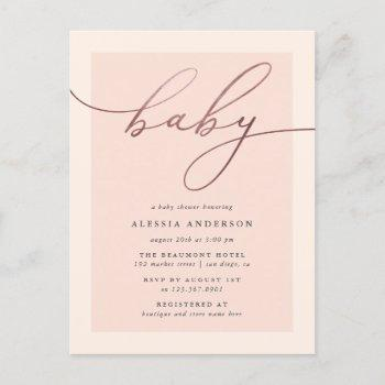 Blush & Rose Gold Typography Girl Baby Shower Invitation Postcard