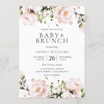 Blush Watercolor Flowers Baby Shower Brunch Invitation