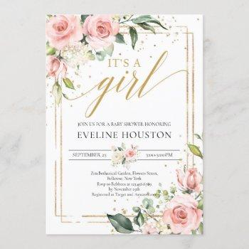 Bohemian Blush Pink Floral Gold It's A Girl Baby