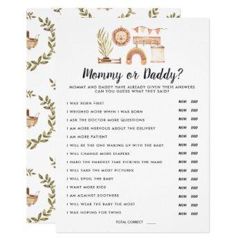 Boho Baby Shower | Mommy Or Daddy Game Invitation