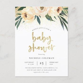 Boho Blush Pink & Brushed Gold Script Baby Shower Invitation Postcard