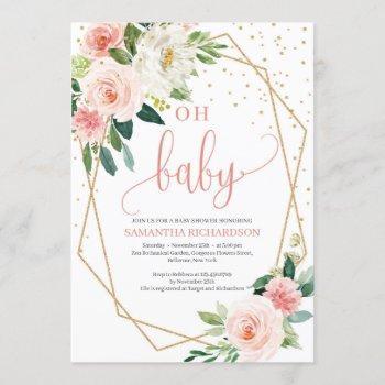 Boho Blush Pink Floral Baby Shower Invitation