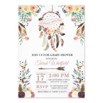 Boho Dream Catcher Dusky Baby Shower Invitation