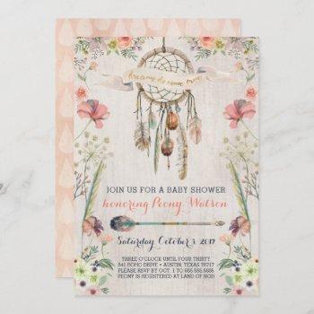 Boho Dream Catcher Rustic Baby Shower Invitations