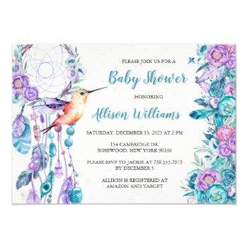 Boho Dreamcatcher Hummingbird Baby Shower Invitation