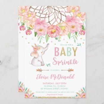 Boho Elephant Baby Sprinkle Girl Pink Mint Floral Invitation