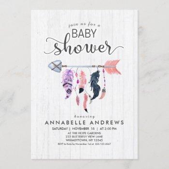 Boho Feathers & Arrow Baby Shower Invitation