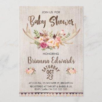 Boho Floral Antlers Baby Shower Invitation