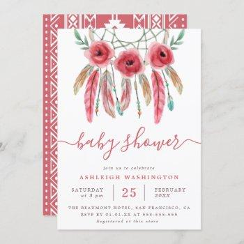 Boho Floral Dream Catcher Baby Shower Invitation
