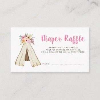 Boho Floral Tribal Teepee Diaper Raffle Ticket Enclosure Card