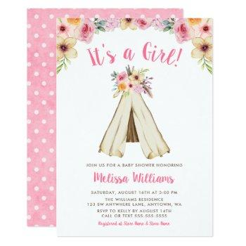 Boho Floral Tribal Teepee Girl Baby Shower Invite