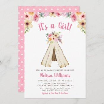 Boho Floral Tribal Teepee Girl Baby Shower Invite