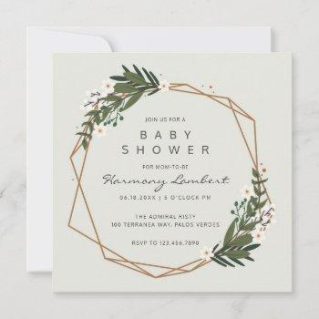 Boho Gender Neutral Geometric Greenery Baby Shower Invitation