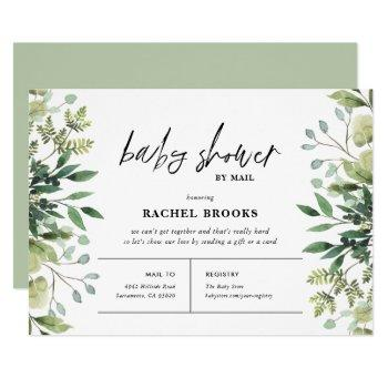 Boho Greenery Baby Shower By Mail Invitation