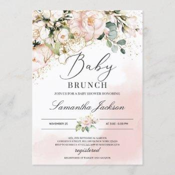 Boho Greenery Blush Pink Floral Gold Baby Brunch Invitation