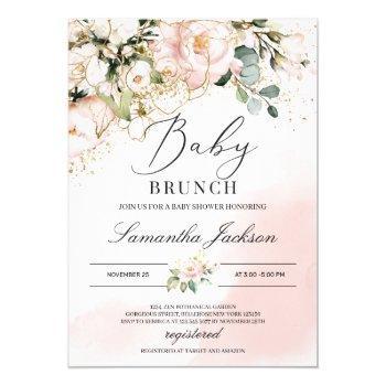 Boho Greenery Blush Pink Floral Gold Baby Brunch Invitation