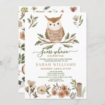 Boho Guess Who Is Almost Due Owl Baby Shower Invitation