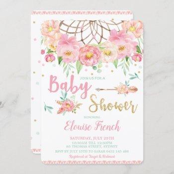 Boho Pink Floral Baby Shower Dream Catcher Girl Invitation