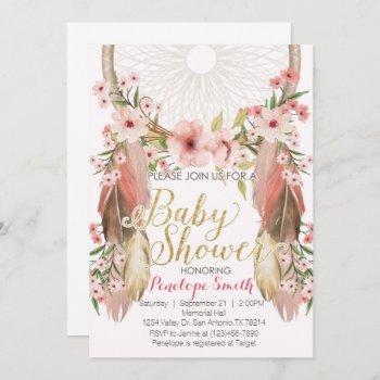 Boho Pink Gold Dreamcatcher Baby Shower Invitation