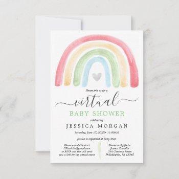Boho Rainbow Virtual Baby Shower Invitation