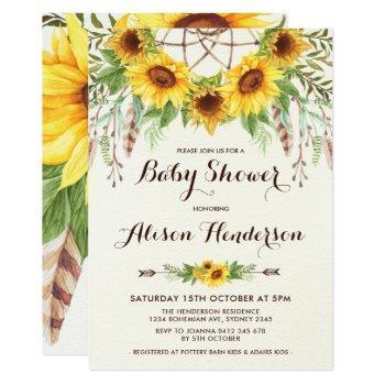 Boho Sunflower Baby Shower Summer Dreamcatcher Invitation