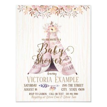 Boho Teepee Baby Shower Invitations