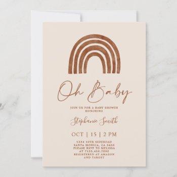 Boho Terracotta Rainbow Baby Shower Invitation