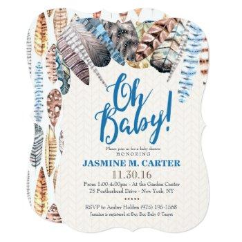 Boho Tribal Feathers Watercolor | Baby Shower Boy Invitation