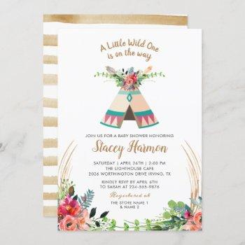 Boho Tribal Wild One Rustic Floral Baby Shower