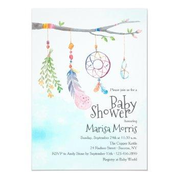 Boho Watercolor Tribal Feather Baby Shower Invites