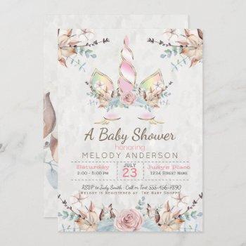 Boho Woodland Floral Unicorn Baby Shower Pink