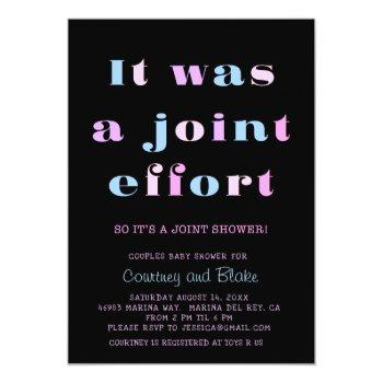 Bold Joint Effort Baby Shower Invitation