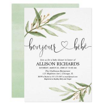 Bonjour Bebe French Greenery Gold Gender Neutral Invitation