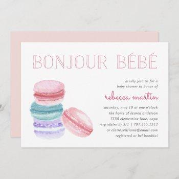 Bonjour Bébé   Macaron Baby Shower Invitation