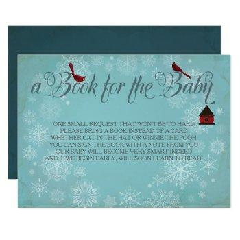 Book For The Baby, Winter Blue Insert Invitation