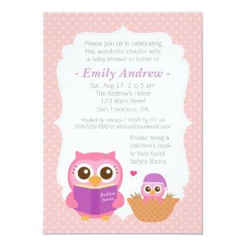 Book Themed, Girl Cute Owl Baby Shower Invitations