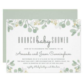 Botanical Eucalyptus Foliage Baby Shower Brunch Invitation