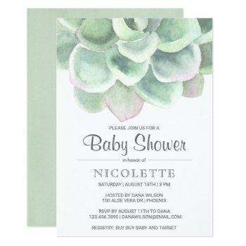 Botanical Sage Green Succulent Baby Shower Invitation