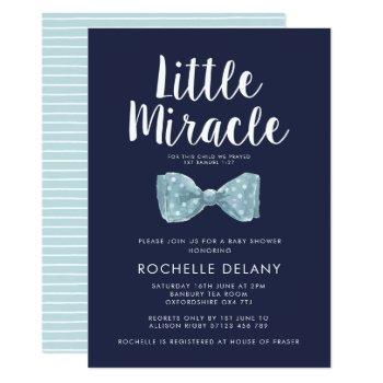 Bow Tie Blue Little Miracle Baby Shower Invitation