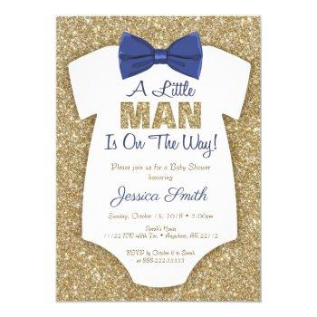 Bowtie Baby Shower Invitation Gold Glitter