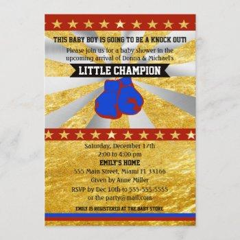 Boxing Sports Baby Boy Shower Invitation Gold