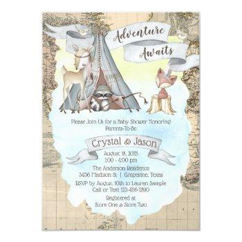 Boy Adventure Awaits Travel Map Baby Shower Invitation