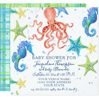Boy Baby Shower Beach Starfish Octopus Seahorse Invitation