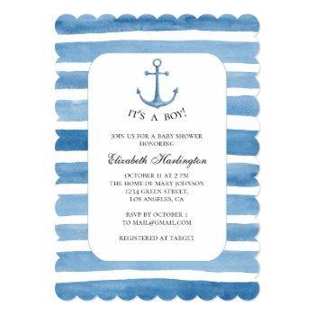 Boy Baby Shower. Blue Anchor Yacht Invitation